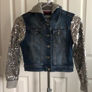 Justice Jean jacket with sequins arms and hoodie